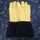 Gold Leaf Grain Leather Gauntlet Gloves